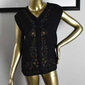BECHAMEL Wool Black Vest Floral Embroidered XL